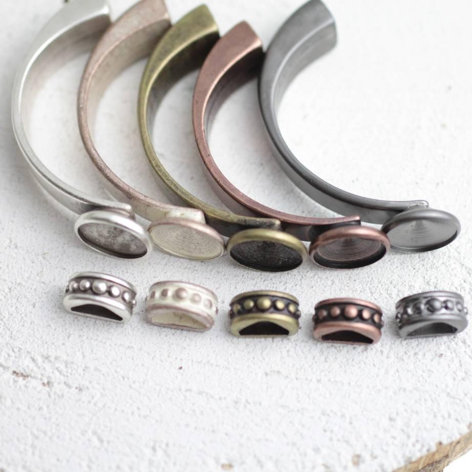 Armspangen Fassung für 14 mm Rivoli, Armband zum selber machen für 4 mm Lederbänder, Zamak - FA61 Bild 1
