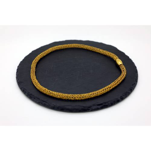 Edles Damen-Collier aus 24ct vergoldetem Draht mit Magnetverschluss - bcd manufaktur, Kette, Halsband, Halskette
