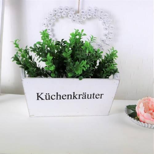 Holzkiste Küchenkräuter, weiß, Landhausstil, Floristikdeko