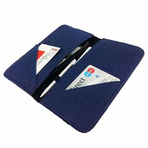 "5.2 - 6.4"" Bookstyle wallet Handtasche Handyhülle Schutzhülle Schutztasche Hülle aus Filz Filztasche für Handy, Blau"