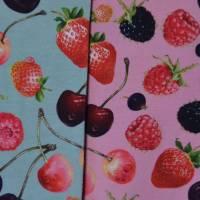Jersey mit Beeren Kirschen Himbeeren Erdbeeren 50 x 150 cm Nähen Stoff Bild 1