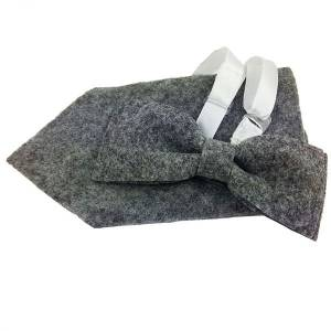 Herrenfliege Schleife Fliege aus filz mite Einstecktuch grau Bild 4