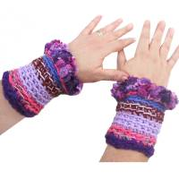 Pulswärmer Armstulpen *Violett Mix* in rosa pink und Lilatönen gehäkelte Handarbeit Bild 1