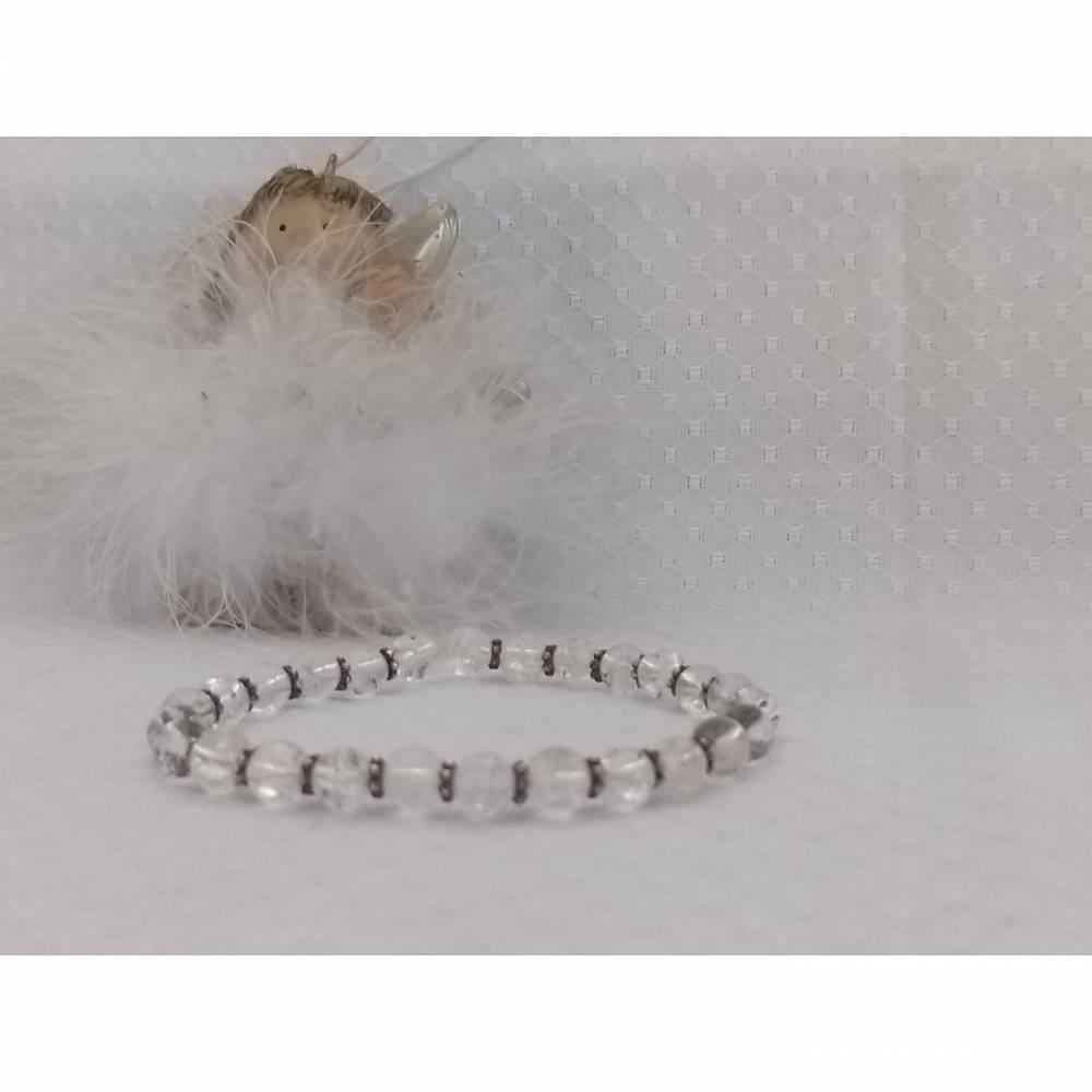 Bergkristall Armband mit echt silber Blümchen Bild 1