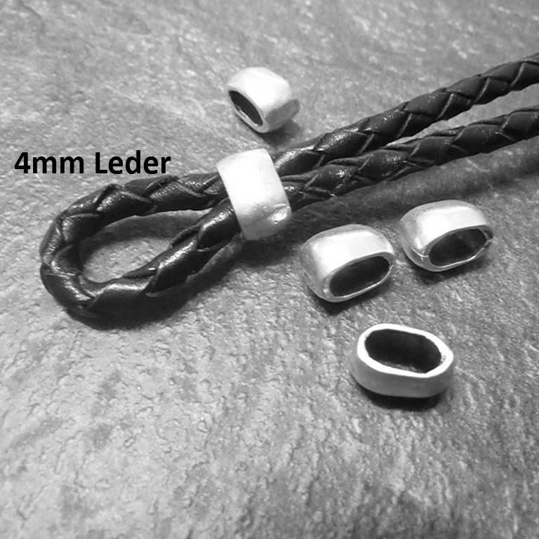 Metall Schiebeperlen für 4 mm Lederbänder, Slider, Zamak Schieber diverse Farben - ZM191 Bild 1