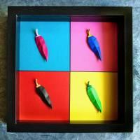Chilis á la Warhol // 3D-Wandbild aus Origami im Objektrahmen Bild 1