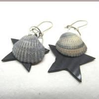 Ohrhänger mit Stern und Muscheln nachhaltig und recycling, originelle Geschenkidee Bild 1
