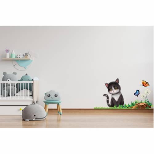 Super Wandtattoo Katze im Gras für das Kinderzimmer, Spielzimmer,konturgeschnitten in 6 Größen ab 50 cm B x 30 cm H