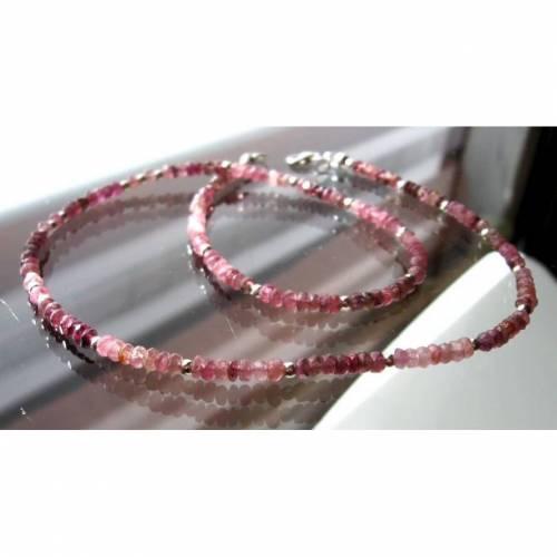 Edelsteinkette/ Collier aus Pink Turmaln facettiert mit 925 Silber, Damen Kette, Geschenk, Geburtstag, Unikat