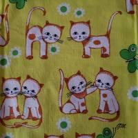 Vintage, Überzug, Bettwäsche Baby Kleinkind 128x96 cm grün Katzen, Baumwolle Bild 1