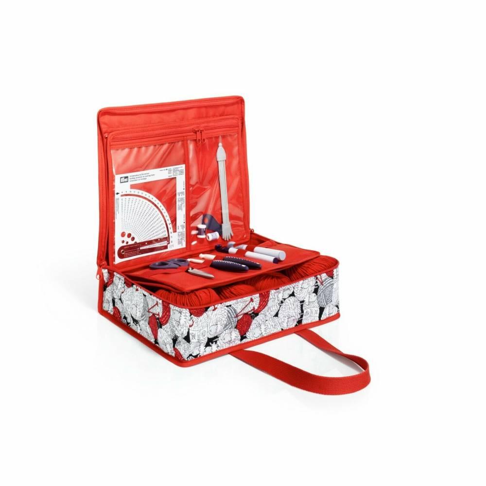 Handarbeitstasche Prym All-in-one Tasche Merino rot/weiß häkeln- stricken Bild 1