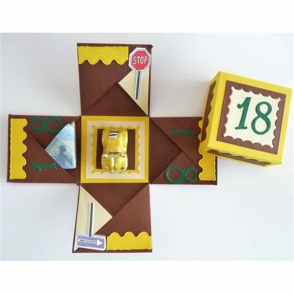 Geldgeschenk zum 18. Geburtstag Überraschungsbox mit Auto Geschenk Verpackung Bild 1