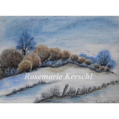 Winterspaziergang Pastellkreidebild handgemalte Landschaft 24 x 32 cm in Querformat