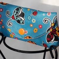 Mini Täschchen blau Marienkäfer Masken-Tasche Taschentuchtasche beschichtete Baumwolle Bild 1