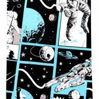 """Notizbuch """"Astronaut"""" 17,5 x 23 cm (ähnlich A5) stoffbezogen Weltraumfahrer Astronaut Planeten Universum Comic Bild 3"""