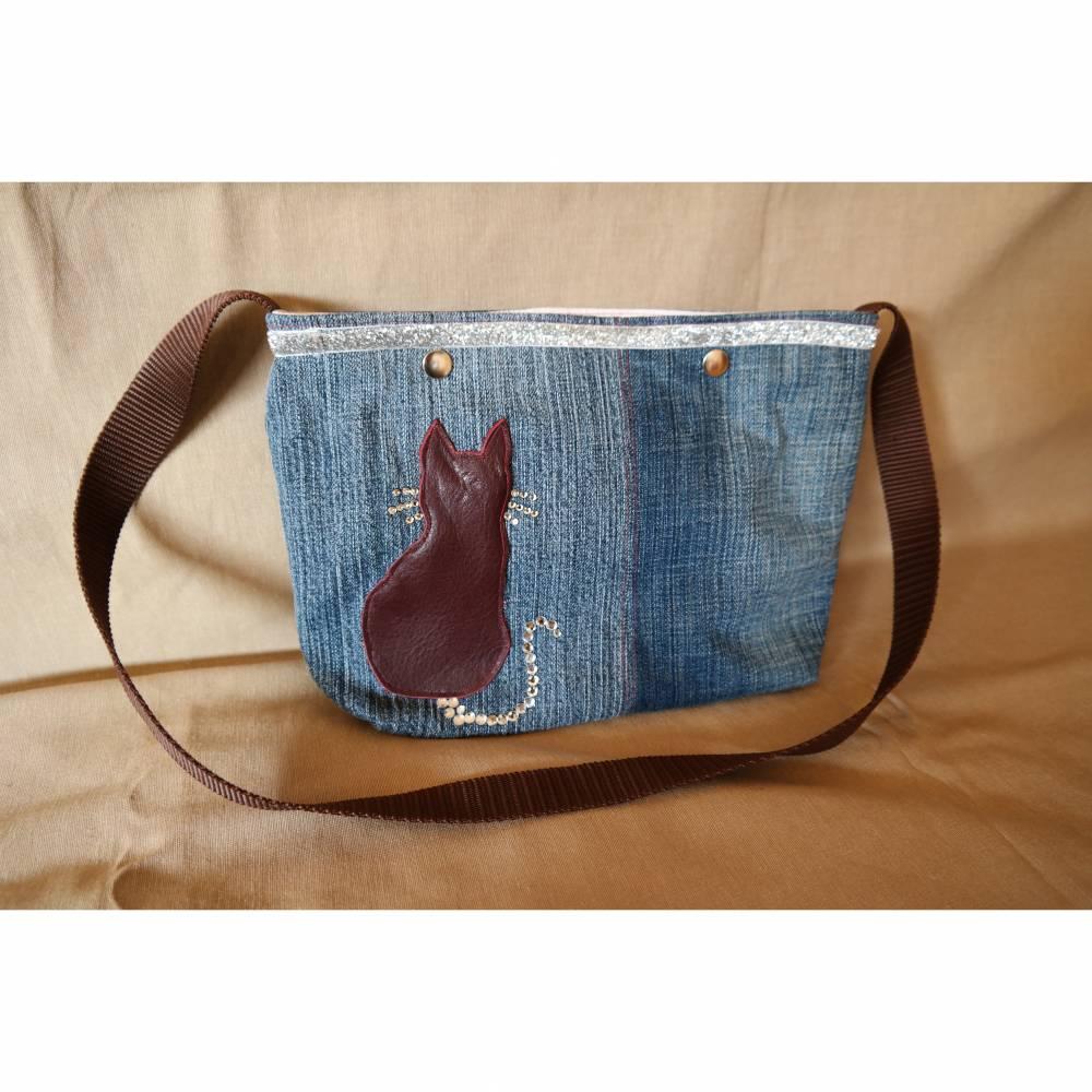 Tasche, Jeans, Upcycling, Leder, Schmucksteine Bild 1