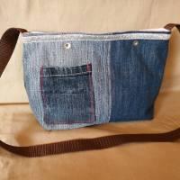 Tasche, Jeans, Upcycling, Leder, Schmucksteine Bild 3