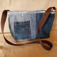 Tasche, Jeans, Upcycling, Leder, Schmucksteine Bild 4