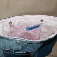 Tasche, Jeans, Upcycling, Leder, Schmucksteine Bild 5