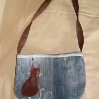 Tasche, Jeans, Upcycling, Leder, Schmucksteine Bild 6