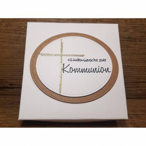 Geldgeschenk zur Kommunion, Kommunionsgeschenk, handgemachte Geschenkschachtel mit Karte, Geschenkset