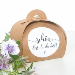Kraftpapier Päckchen für Gastgeschenke 10 x | Recycling Schachteln für Hochzeit, Taufe, Kommunion | vintage  Bild 2