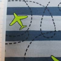 French Terry Baumwolljersey angeraut Flugzeuge blau (1m/14,-€)  Bild 3