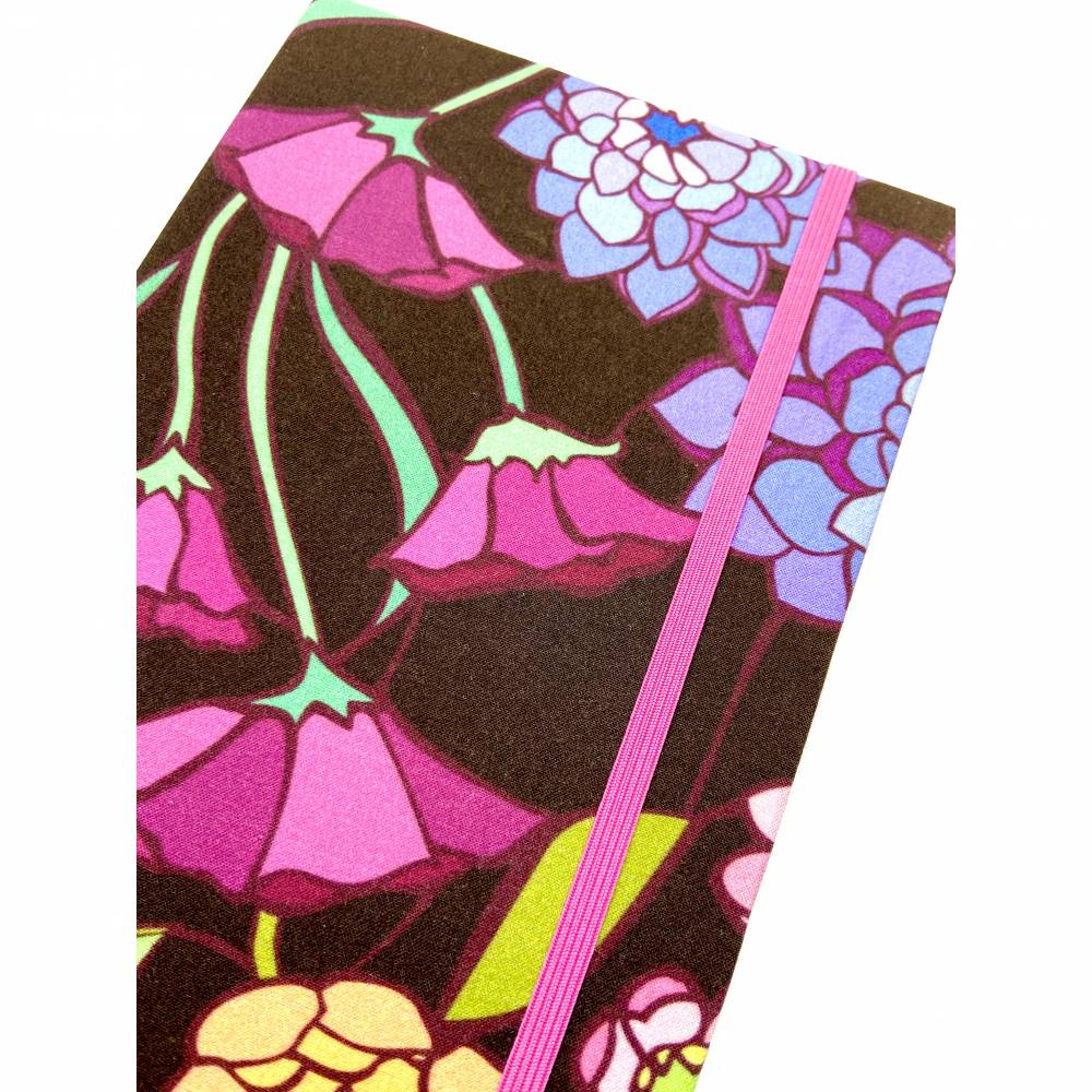 """Notizbuch Tagebuch """"Purple Blossom"""" A5 Hardcover stoffbezogen Blume Blüte Garten Fan Geschenk  Bild 1"""