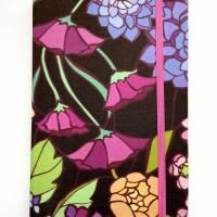 """Notizbuch Tagebuch """"Purple Blossom"""" A5 Hardcover stoffbezogen Blume Blüte Garten Fan Geschenk  Bild 3"""