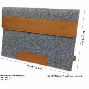 15,4 Zoll Hülle Schutztasche Tasche Sleeve Filztasche Leder-Tasche Laptoptasche für Acer MacBook Pro 16, Asus HP Laptop  Bild 4