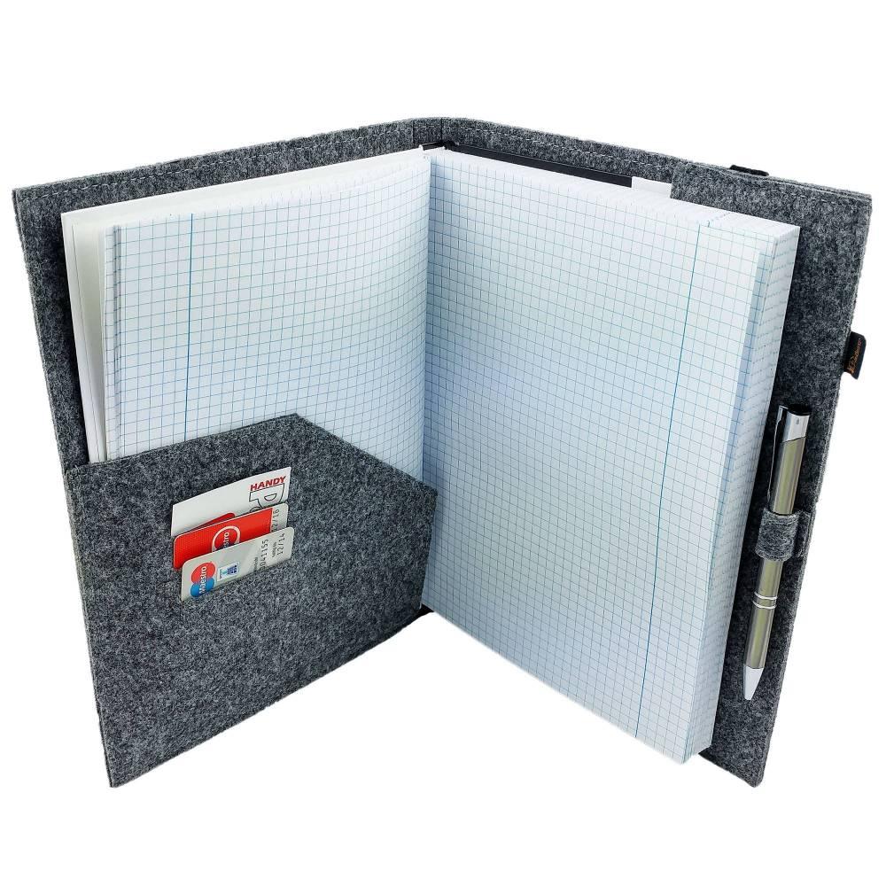DIN A5 Einband Zeichenmappe Bucheinband Hefteinband für Kalender Notizbuch Schulheft / Geschenk für Sie Ihn Kind / Filzh Bild 1