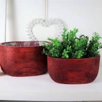 Holz Schalen 2er Set, Pflanzschalen, Wohndeko, Stückpreis 14,95 Euro, Floristikdeko Bild 1