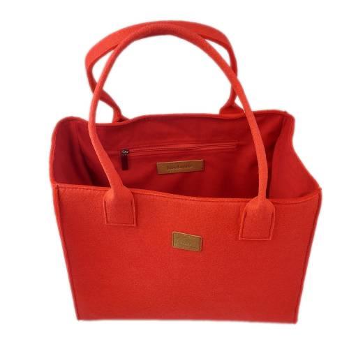 Red Shopper Damentasche Handtasche Filztasche Filz rot
