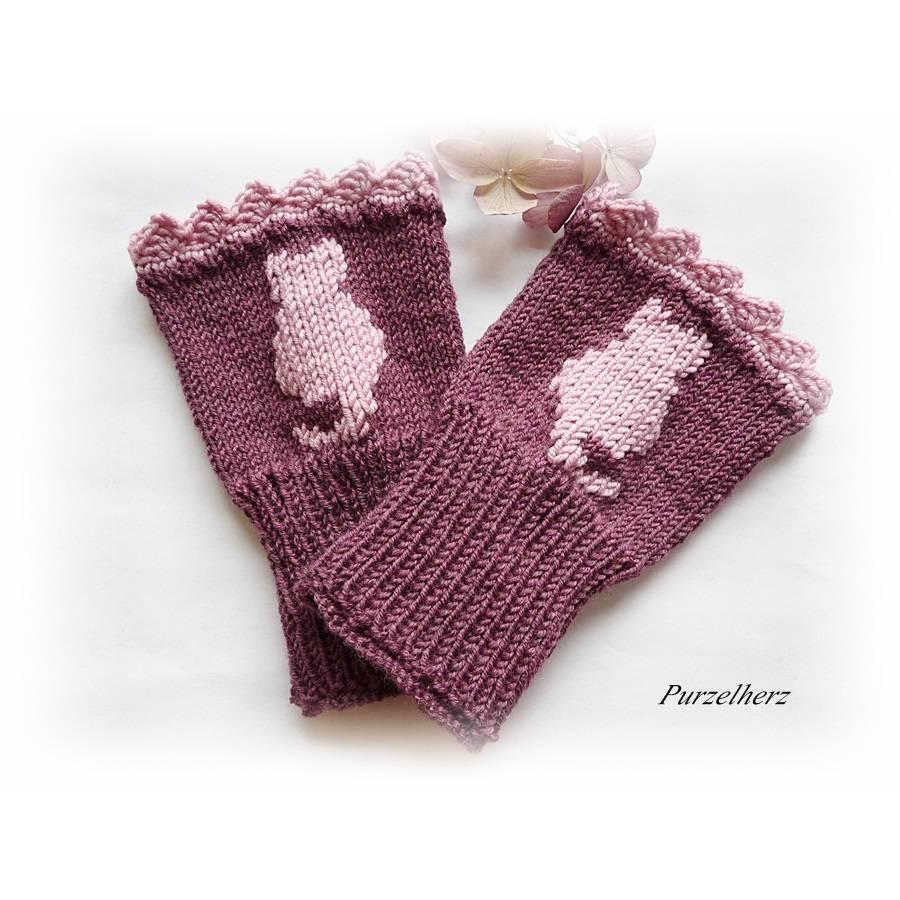 Handgestrickte Armstulpen/Pulswärmer mit Katze u. Spitze für Große - Handstulpen,Damenstulpen,romantisch,verspielt,beere Bild 1