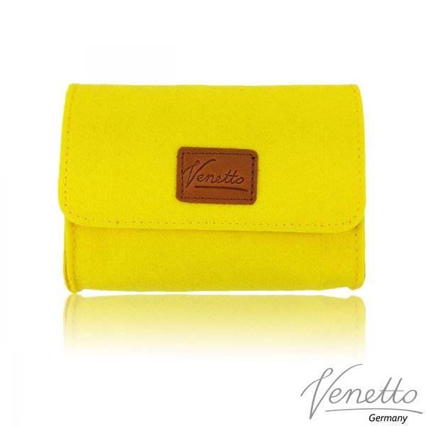 Täschchen Mini Hülle Tasche aus Filz für Zubehör Beutel für Kosmetik Kulturbeutel Gelb Bild 1