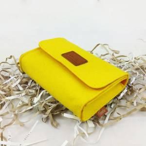 Täschchen Mini Hülle Tasche aus Filz für Zubehör Beutel für Kosmetik Kulturbeutel Gelb Bild 3