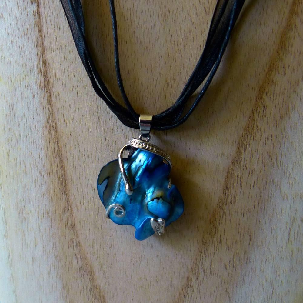 Halskette mit Perlmuttanhänger, blau silber, 40 + 4 cm Verlängerung, Kette mit Anhänger, Karabiner, Schmuck, Muschel Bild 1