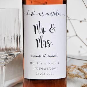 Etikett für Weinflaschen Hochzeit | individualisierbares Flaschenetikett | Aufkleber Flaschen Weinetikett  Bild 1