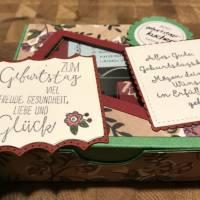 Geburtstagskuchen-Bausatz mit Konfetti, Kerze + Spitzendeckchen für den Geburtstagskuchen To Go - Blätter und Blüten