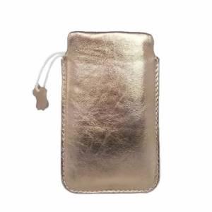 """5"""" Echtleder Tasche Hülle aus Leder Lederhülle Ledertasche Schutzhülle Einstecktasche, Goldig Bild 2"""