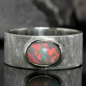 Opalring Silberring - Breiter Ring mit Top Opal - handmade Unikat - weißer Opal Bild 1