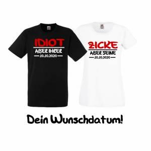 Zweier Set - Partner T-Shirts Idiot und Zicke - Couple Shirts mit Wunschdatum Weihnachten Bild 2