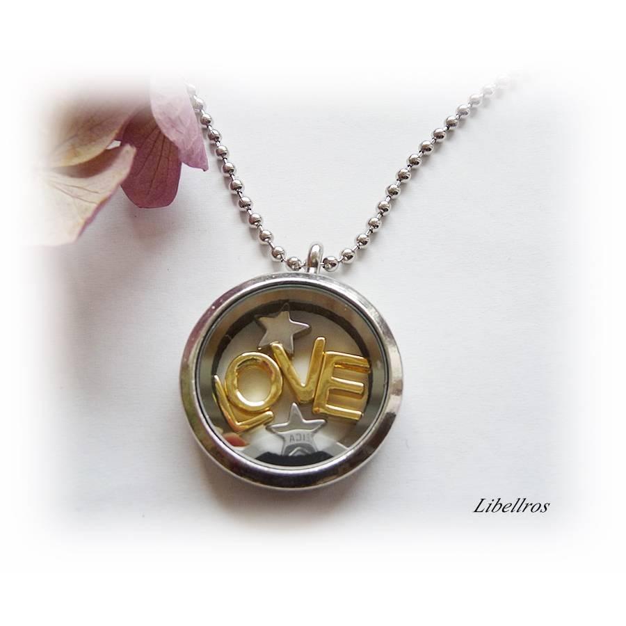 Kette mit Medaillon, Schriftzug LOVE u. Sterne - Glas,verspielt,unisex,bicolor,silber- goldfarben Bild 1