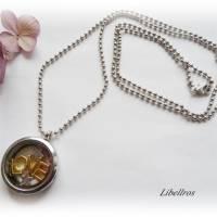 Kette mit Medaillon, Schriftzug LOVE u. Sterne - Glas,verspielt,unisex,bicolor,silber- goldfarben Bild 2