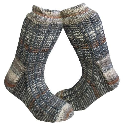 Socken Gr. 45/46 Strümpfe handgestrickt mit Farbverlauf in hellbeige Braun- und Grautönen unisex