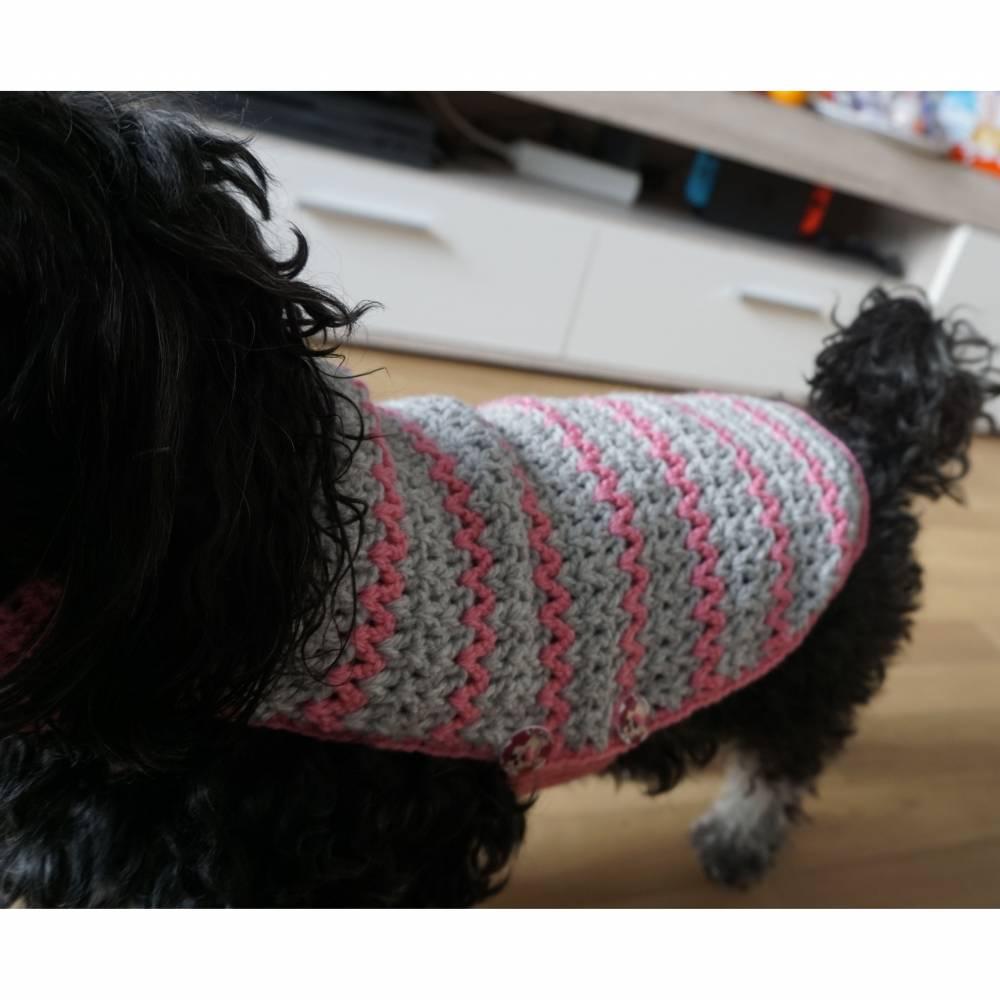 Hundemantel rosa/grau gehäkelt Halsumfang 30-35cm Gesamtlänge 39cm Handarbeit Bild 1
