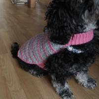 Hundemantel rosa/grau gehäkelt Halsumfang 30-35cm Gesamtlänge 39cm Handarbeit Bild 10