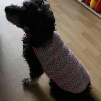 Hundemantel rosa/grau gehäkelt Halsumfang 30-35cm Gesamtlänge 39cm Handarbeit Bild 2