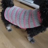 Hundemantel rosa/grau gehäkelt Halsumfang 30-35cm Gesamtlänge 39cm Handarbeit Bild 7
