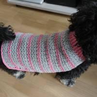 Hundemantel rosa/grau gehäkelt Halsumfang 30-35cm Gesamtlänge 39cm Handarbeit Bild 8